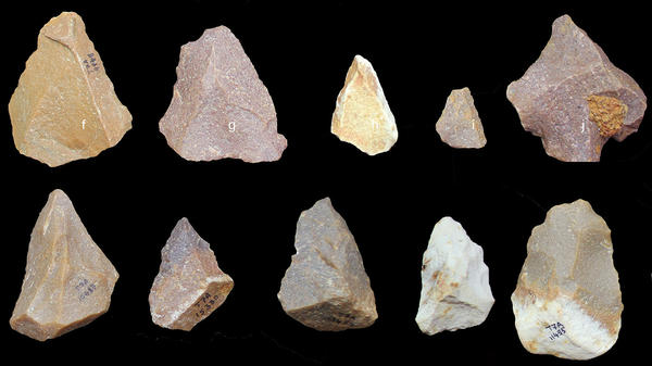 Middle Palaeolithic artifacts recently excavated from Attirampakkam, an archaeological site in present-day southern India. The artifacts suggest the technique used to make them spread across the world long before researchers previously thought.