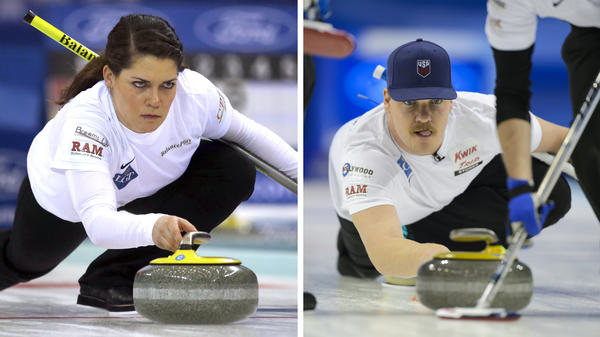 (Left) United States' Becca Hamilton releases the stone during a match against Switzerland in the Women's World Curling Championship in Beijing on March 23, 2017. (Right) Becca's brother, Matt Hamilton, delivers a stone during the bronze medal game between the U.S. and Japan at the World Men's Curling Championships on April 10, 2016.