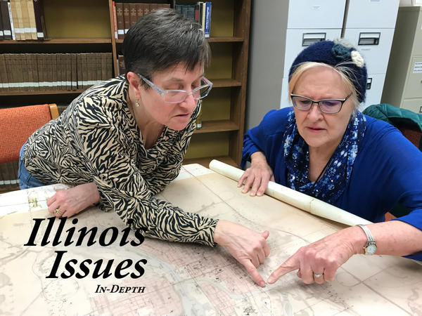 "The U.S. Department of Energy flew a helicopter over Ottawa, Illinois, in 1986 and identified 14 ""hot spots"" of radiation. Katie Troccoli and Joan Bernabi review the map created by the department at the Reddick Library."