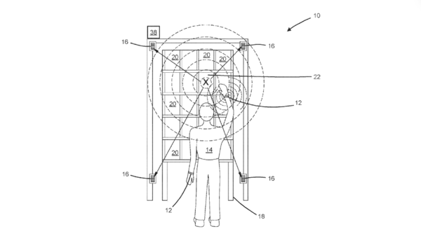 "A diagram from an Amazon patent application shows a human worker (labeled with ""14"") wearing an ultrasonic bracelet tracking his or her hand movements and providing feedback. The patent was granted on Tuesday."