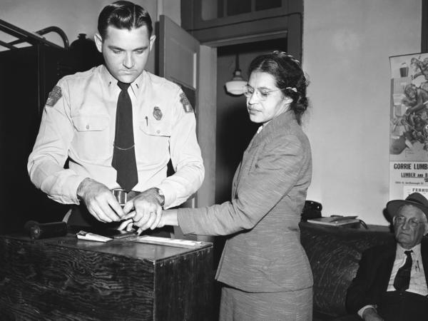 Rosa Parks is fingerprinted by police in Montgomery, Ala. in 1956.