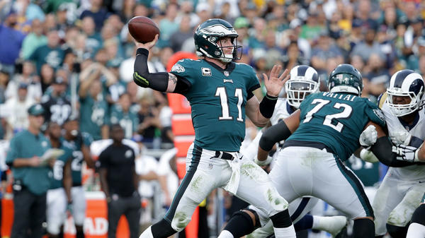 Quarterback Carson Wentz of the Philadelphia Eagles drops back to pass against the Los Angeles Rams on Dec. 10 in Los Angeles.