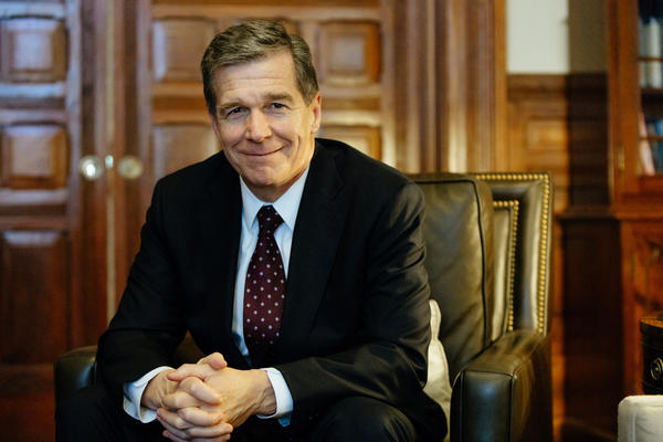 North Carolina Governor Roy Cooper sits for an interview with WUNC in the Executive Mansion in Raleigh, N.C., Tuesday, Jan. 30, 2018. Cooper addressed the opiod crisis affecting the state.