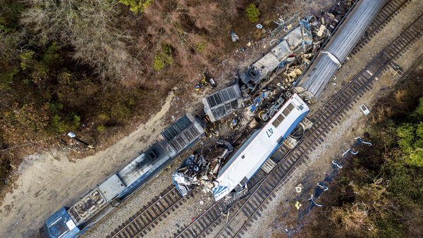 An aerial view of the site in Cayce, S.C., where an Amtrak passenger train (bottom right) slammed into a CSX freight train early Sunday morning. At least two Amtrak crew members were killed and more than 100 people injured, authorities said.