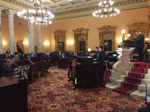 Ohio Senate convenes for a rare Monday night session to pass a comprehensive plan to reform the congressional redistricting process at the Ohio Statehouse.