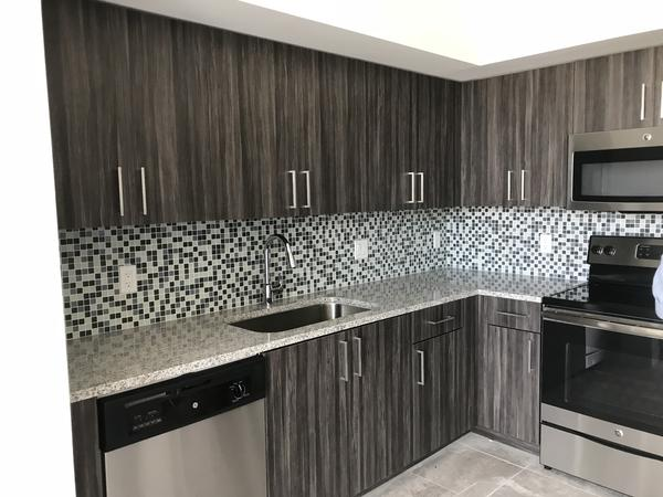 The kitchens in all of the 100 units have tile backsplashes, an upgraded gargabe disposal, and granite countertops.