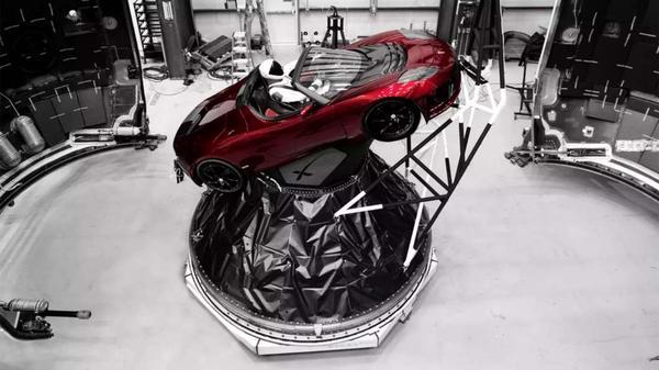 """Starman"" heading into space aboard SpaceX's Falcon Heavy."