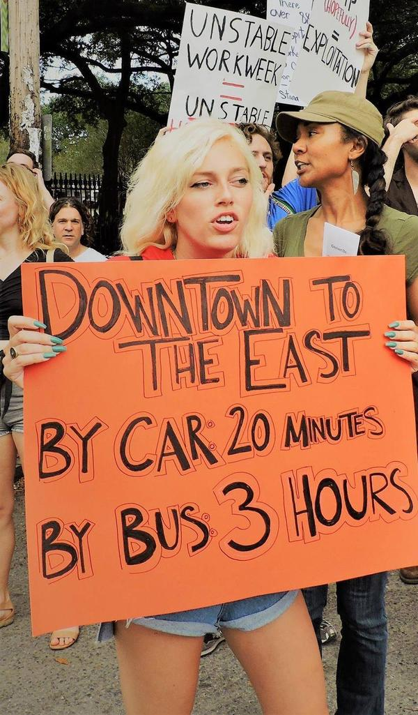 Lita Farquhar participates in a rally by hospitality workers in New Orleans' French Quarter who were protesting for better public transportation. Farquhar, a waitress, says managers can retaliate against workers by assigning bad shifts or less-desirable work.