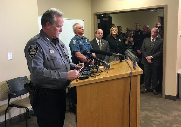 L-R: El Paso County Sheriff Bill Elder, Colorado Springs Police Chief Pete Carey, Colorado Springs Mayor John Suthers, others. Press conference at Memorial Hospital after the death of Deputy Micah Flick in the line of duty.