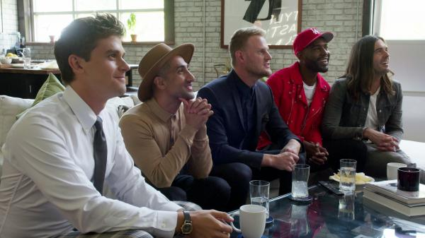 L to R: Antoni Porowsky, Tan France, Bobby Berk, Karamo Brown and Jonathan Van Ness, eyeing queerly.