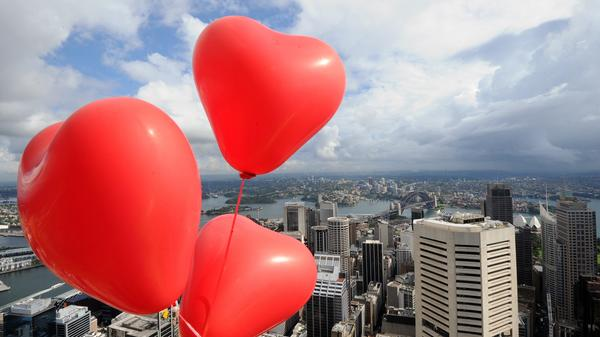 Heart-shaped balloons were tied to the summit of the Sydney Tower to mark Valentine's Day in 2012. The tower is Sydney's highest viewing platform.