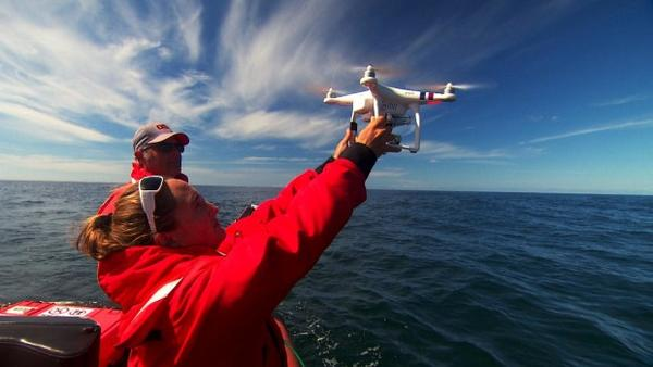 <p>Oregon State University researcher Leigh Torres launches a drone off the Oregon coast to study how whales respond to noise pollution from vessel traffic. The project has funding from the National Marine Fisheries Service Office of Science and Technology Ocean Acoustics Program.</p>
