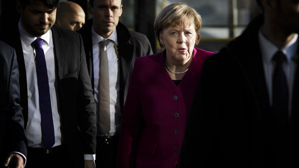 German Chancellor and leader of the Christian Democratic Union (CDU) Angela Merkel arrives for the coalition negotiations at CDU headquarters on Tuesday.