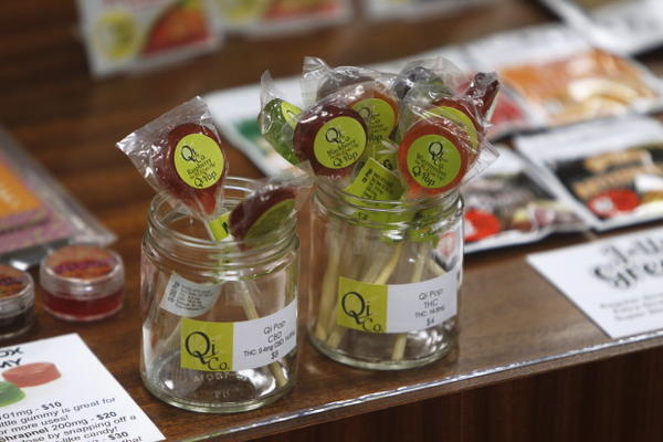 <p>Edibles are displayed at the Shango Cannabis shop on the first day of legal recreational marijuana sales beginning at midnight in Portland, Oregon, Oct. 1, 2015.</p>