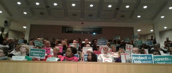 The public hearing on changing the district's multiculturalism policy drew a packed crowd.
