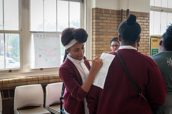 Students at the Hawthorn Leadership School for Girls, a charter school in St. Louis, in May 2017. The Missouri House of Representatives advanced a bill Monday that would expand charter schools beyond St. Louis and Kansas City.