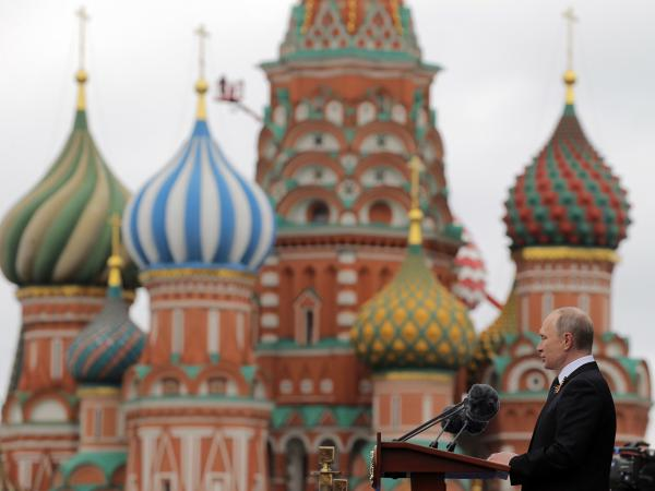 Russian President Vladimir Putin delivers a speech in Moscow's Red Square last May. Russian-backed efforts attempting to interfere in U.S. politics appear to be evolving.