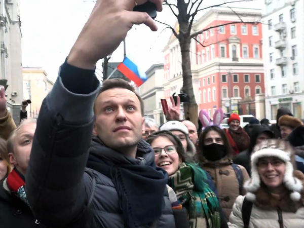 A still image taken from an AFPTV footage shows opposition leader Alexei Navalny taking a selfie during a Jan. 28 rally calling for a boycott of March 18 presidential elections. Navalny makes heavy use of Twitter, YouTube and other online outlets to build his movement.