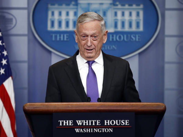 "Defense Secretary Jim Mattis pictured speaking at the White House Wednesday. He said Thursday that ""DREAMers"" in the military won't be deported."