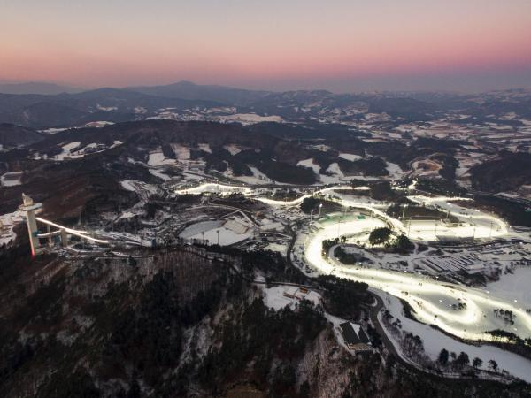 Pyeongchang's ski jumping center (left), cross-country ski facility (center) and biathlon center (right) are among the venues for the 2018 Winter Olympics.