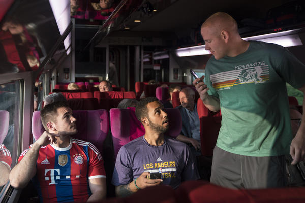 """Alek Skarlatos (left), Anthony Sadler (middle) and Spencer Stone in a still from """"The 15:17 to Paris."""" (Keith Bernstein/Warner Bros. Entertainment)"""
