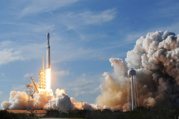 The world's most powerful rocket, SpaceX's Falcon Heavy, blasted off Tuesday on its highly anticipated maiden test flight .
