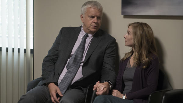 Tim Robbins and Holly Hunter star in HBO's <em>Here and Now</em>.