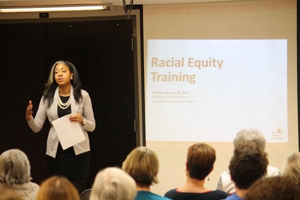 Alexa Broderick leading a recent racial equity workshop