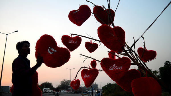 A vendor adjusts heart-shaped pillows hanging from a tree in Jalandhar, India, on Feb. 9.