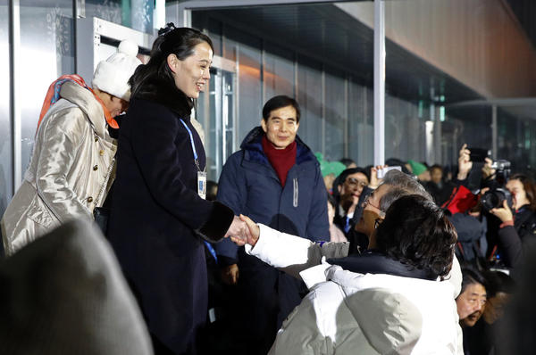 Kim Yo Jong (left), the sister of North Korean leader Kim Jong Un, shakes hands with South Korean President Moon Jae-in at the opening ceremony of the 2018 Winter Olympics.