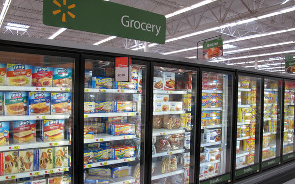 The FDA is responsible for ensuring the safety of most foods, but anything that includes meat falls under the jurisdiction of the USDA. That includes things like the breakfast sandwiches in the frozen foods aisle of this Walmart in Lincoln, Nebraska.