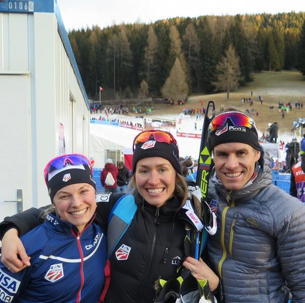 Sophie (middle) with cross-country ski Olympic teammates Jessie Diggins (left) and Simi Hamilton (right). (Courtesy Sverre Caldwell)