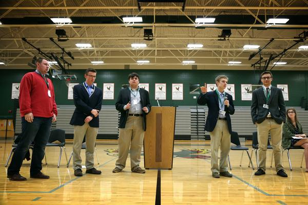 Six Kansas teens are running for governor, following the lead of Jack Bergeson (center). Some of the candidates are seen here participating in a forum at a high school in Lawrence, Kan., in October.