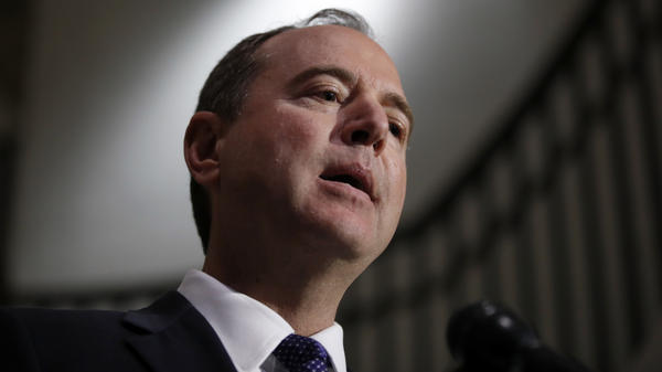 Rep. Adam Schiff, D-Calif., ranking member of the House intelligence committee, speaks during a media availability after a closed-door meeting of the committee on Monday.