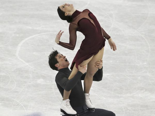 Canadians Tessa Virtue and Scott Moir perform their <em>Moulin Rouge</em> program at the ISU Grand Prix of Figure Skating Final in Japan in December.