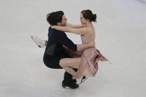 The pair skate their free dance to win the gold at the world figure skating championships in Helsinki, Finland, in April 2017.