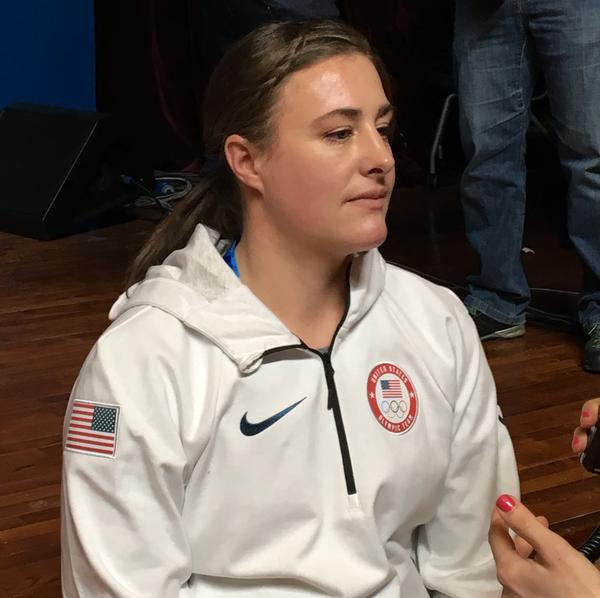 U.S. speed skier Stacey Cook is in Pyeongchang for her fourth Olympic games.  She appeared at a press conference just a few days after a major crash during a competition in Germany.