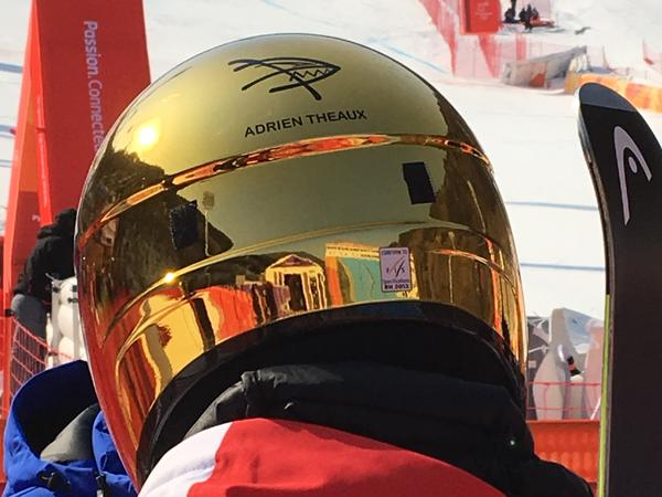 """French downhill skier Adrien Theaux wears a fish-shaped decal in honor of his late teammate David Poisson.  Poisson (which is """"fish"""" in French) died in November 2017 when he crashed during a downhill training session in Canada."""