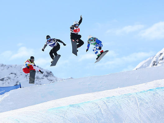 Omar Visintin of Italy, Konstantin Schad of Germany, Jonathan Cheever and Tim Watter of Switzerland compete during the FIS Freestyle Ski World Cup in France in December.