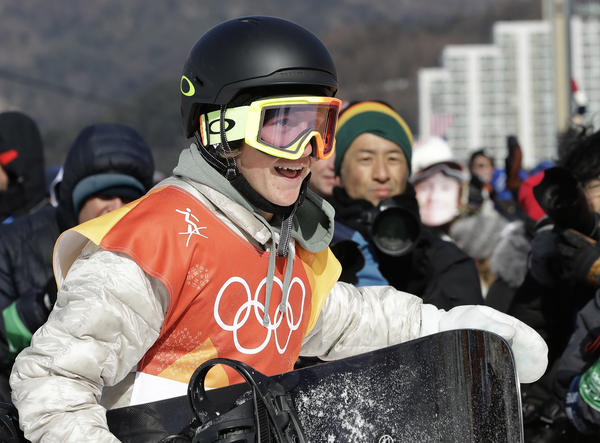 Gerard smiles after winning gold during the men's slopestyle final in Pyeongchang on Sunday.