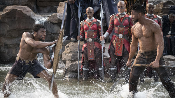 T'Challa/Black Panther (Chadwick Boseman) and Erik Killmonger (Michael B. Jordan) settle their differences, Wakanda style.