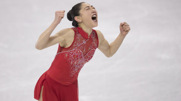 Mirai Nagasu exults after her performance on Monday at Gangneung Ice Arena at the Pyeongchang Winter Olympics. The U.S. took the bronze medal in the team figure skating event.