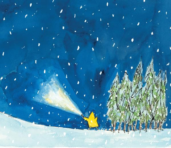 A scene from Matthew Cordell's Caldecott-winning <em>Wolf in the Snow</em>.