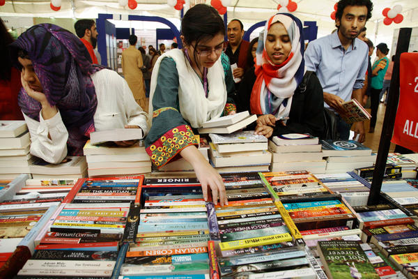 Attendees peruse the books available at last weekend's Karachi Literary Festival.