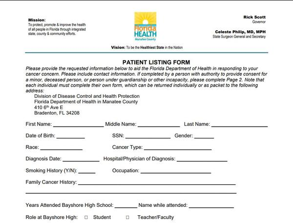 This form has been sent to more than 24,000 current and former students, faculty and staff of Bayshore High School in Bradenton.