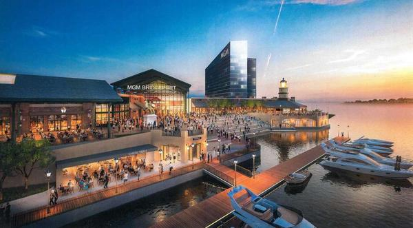 A rendering of how the planned casino in Bridgeport would look