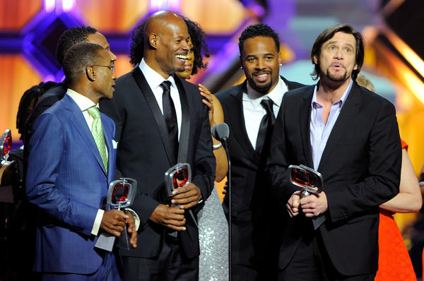 "Actors Tommy Davidson, Keenen Ivory Wayans, Shawn Wayans and Jim Carrey of ""In Living Color"" speak onstage at the 10th Annual TV Land Awards at the Lexington Avenue Armory on April 14, 2012 in New York City."