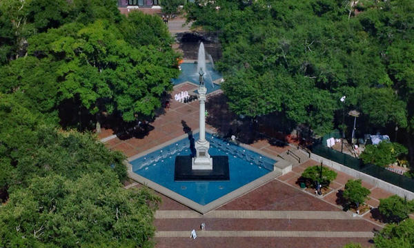 A view of the Confederate momument at Hemming Park in downtown Jacksonville.