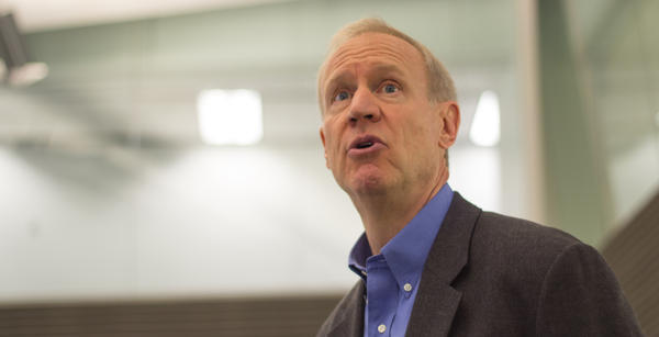 Gov. Bruce Rauner speaks to state workers at the Illinois Emergency Management Agency on the eve of what many thought would be a state government shutdown. Little did they know that there would be no shutdown, and the budget stalemate would go two years.