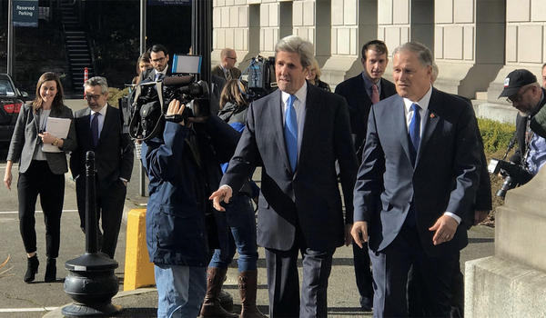 Former U.S. Secretary of State John Kerry was in Olympia Tuesday to help to lobby for Washington Gov. Jay Inslee's carbon tax proposal.